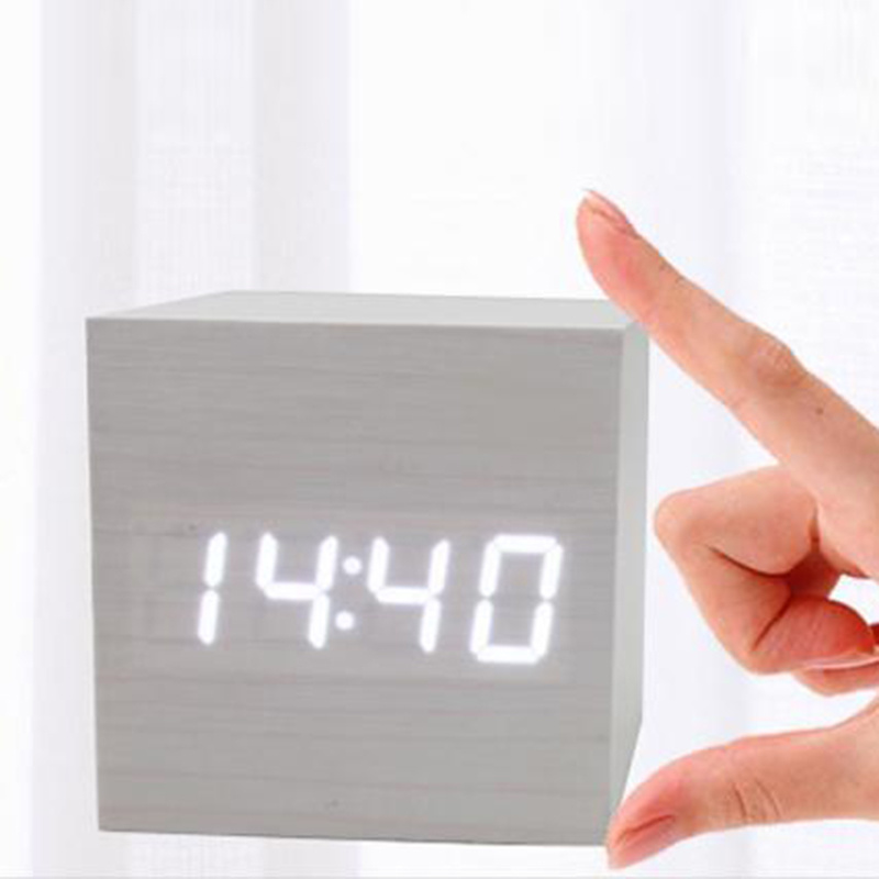 Car Clock Luminous Digital Led Mini Electronic Clock Wooden Square Alarm Clock Voice Control Timer Calendar Auto Car Accessories High Quality And Low Overhead
