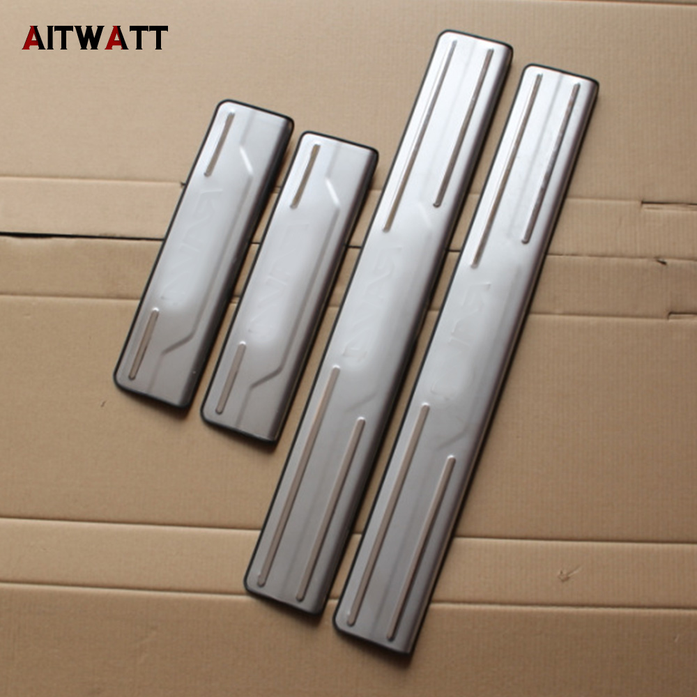 AITWATT Car Accessories For Toyota RAV4 <font><b>RAV</b></font> <font><b>4</b></font> <font><b>2014</b></font> 2015 2016 Stainless Steel Door Sill Protector Pedal Scuff Plate Cover 4Pcs image