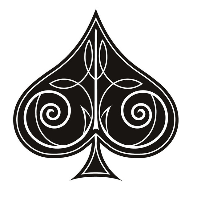 Swirl Decorative Ace Of Spades Wall Sticker Living Room ...