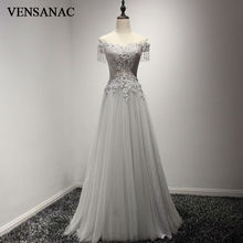 VENSANAC 2017 New A Line Beadings V Neck Long Evening Dresses Embroidery Short Cap Sleeve Elegant Crystals Lace Party Prom Gowns