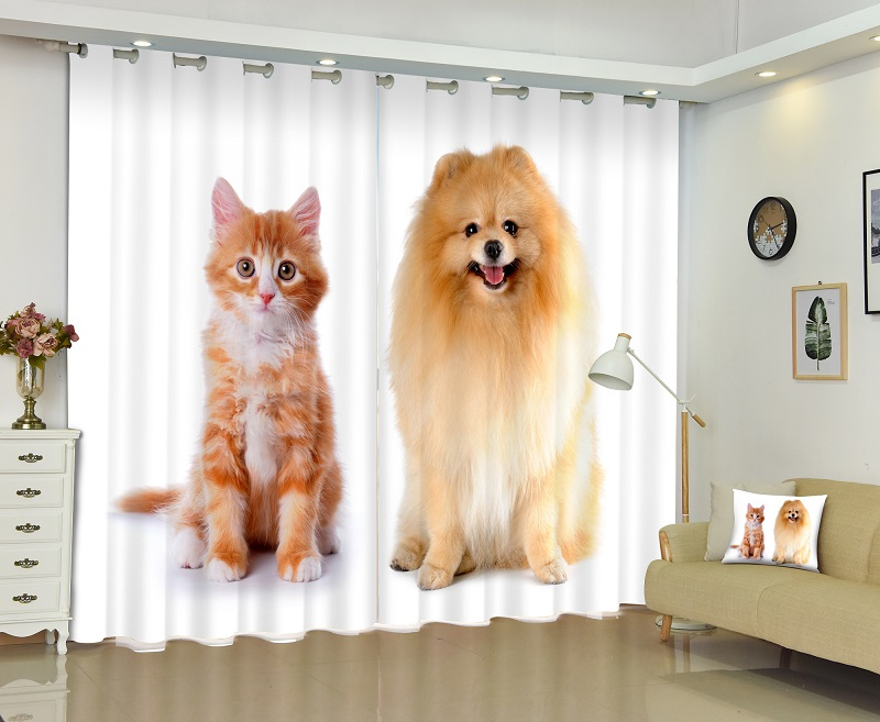 Animal Cat Dog Rabbit 3D Painting Blackout Curtains Office Bedding Room Living Room Sunshade Window Bedding Set Custom-made SizeAnimal Cat Dog Rabbit 3D Painting Blackout Curtains Office Bedding Room Living Room Sunshade Window Bedding Set Custom-made Size