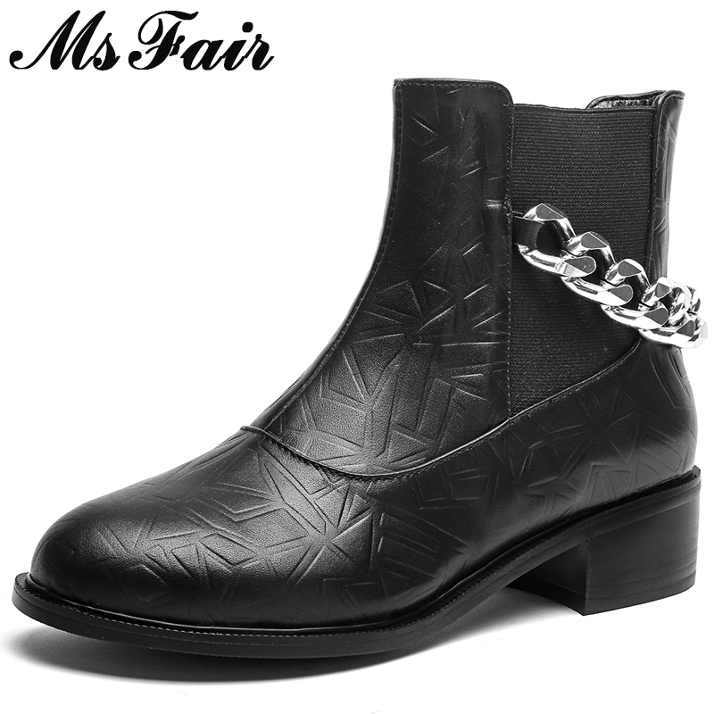 Mädchen Brown Ferse Kappe Leather Msfair Stiefel Platz 2018 Für Niedrigen Runde Metall Schuhe Frauen Kette leather Black Mode Stiefeletten Boot wzwHZP