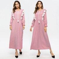 Cardigain Patchwork turkey Islam party dress Women Striped Lace Abaya Islamic Muslim Floral Kaftan Dress Turkish Long DressesY54
