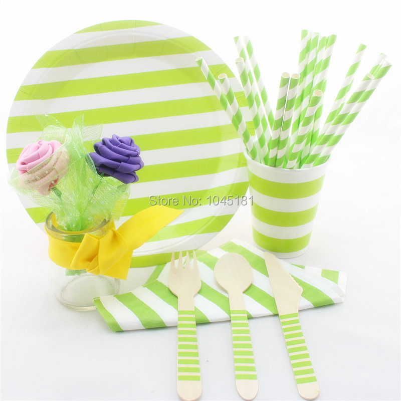 ipalmay Striped Party Tableware Disposable Paper Plates Cups Wooden Utensil Cutlery Wedding Paper Straws Party Napkins-in Disposable Party Tableware from ...  sc 1 st  AliExpress.com & ipalmay Striped Party Tableware Disposable Paper Plates Cups Wooden ...