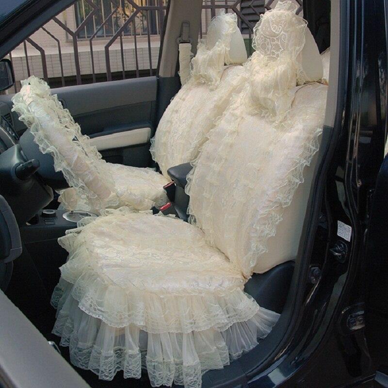 Кружевные женские подушку сиденья автомобиля 5 мест Авто Аксессуары 19 шт. нежный 2 слоя кружевная юбка для девочек Тюнинг автомобилей HB01