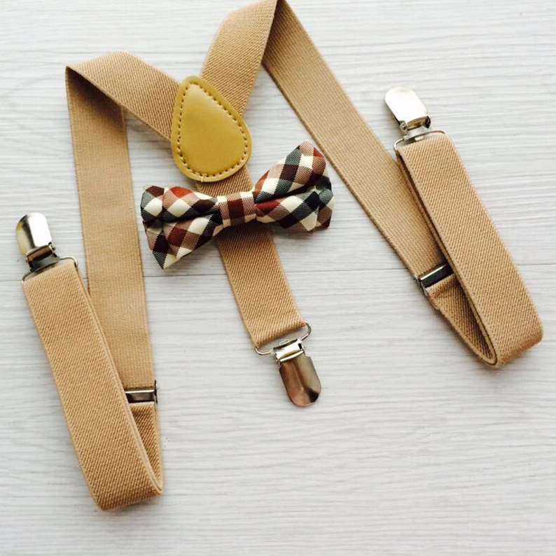 Bow Tie Suspenders Set Khaki Color Solid Pattern Y Shape 3 Clips On Suspenders Child Boys Girls Suspenders