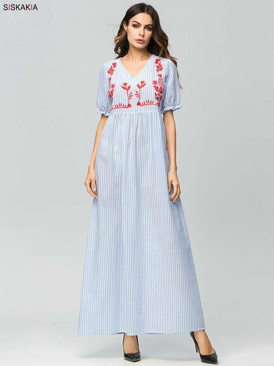 039cf694d98b8 Siskakia high waist A line maxi long dress vertical stripe chic floral  embroidery summer dresses Blue brief elegant Urban casual