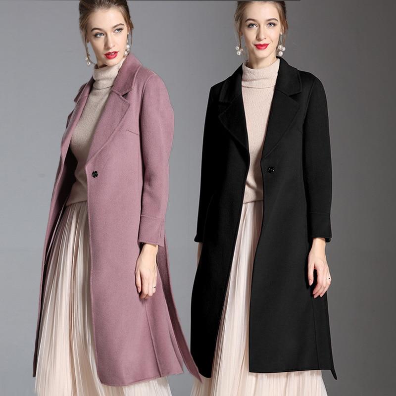 Couleur De Haut Violet Jog Noir Femme Manteau Double 2018 Pur Street face En High Noir Longue Design Mcerg Laine pourpre Manteaux Hiver Cachemire 8pSHq
