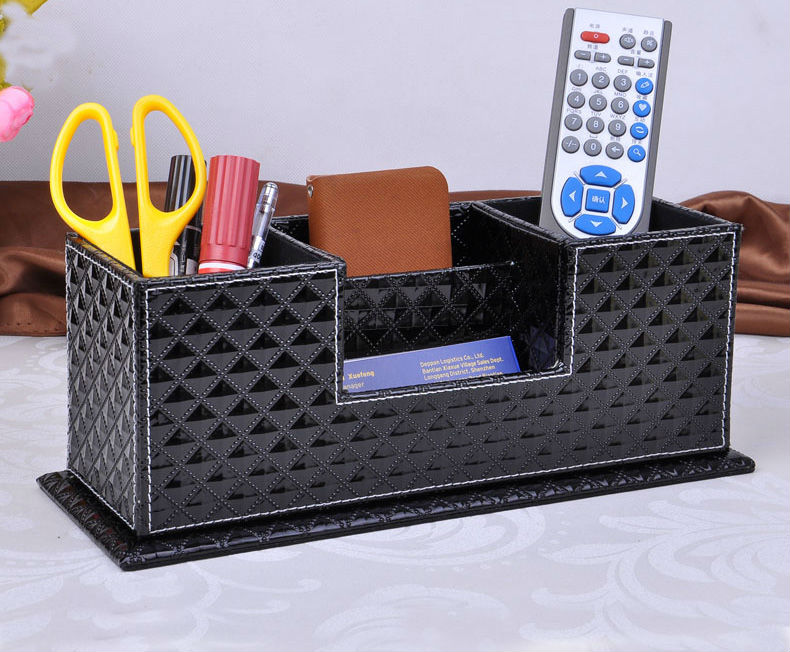 wood struction leather surface desk multi function stationery organizer with double pen pencil holder case diamong