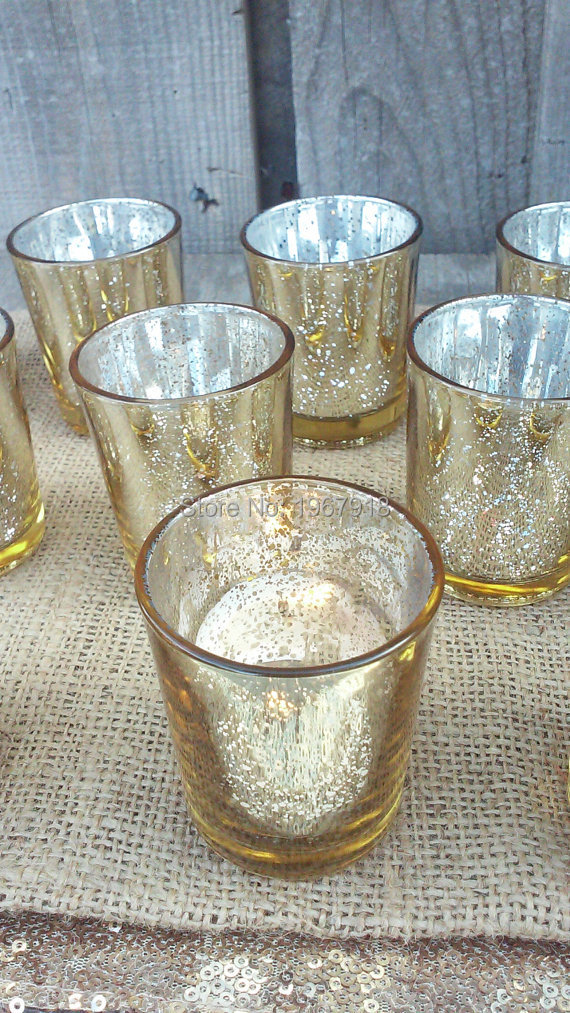 DHL Shipping 24pcs/Lot 2.5 Inch Tall Gold & Silver Color <font><b>Glass</b></font> <font><b>Candle</b></font> Holder Wedding <font><b>Votive</b></font> <font><b>Candle</b></font> Holder Home Table Decorative