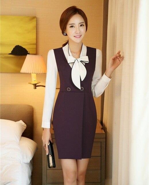 Formal Women Dresses Purple Sleeveless V Neck Office Ladies Work