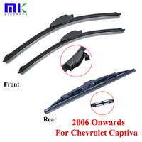 Combo Rubber Front And Rear Wiper Blades For Chevrolet Captiva 2006 Onwards Windscreen Wipers Car Accessories