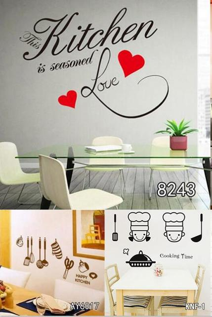 Smontabile del PVC Wall Sticker Cucina Modello di Cuore Carte Da ...
