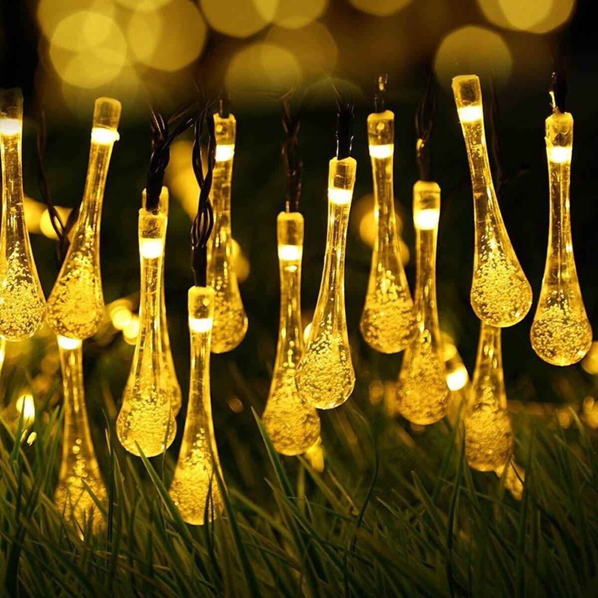 Jiawen Waterproof IP65 4.5M 30leds Water Drops Shaped Solar Powered LED String lights