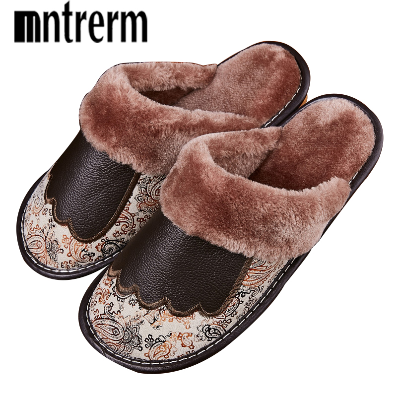 Mntrerm Fashion Warm Cowhide Natural Fur Slippers Men Home Shoes Winter Genuine Leather Slippers Plus Size Indoor Shoes Couple