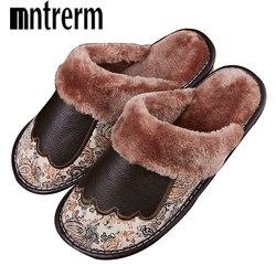 Mntrerm moda quente do couro natural chinelos de pele dos homens em casa sapatos de inverno chinelos de couro genuíno plus size indoor sapatos casal