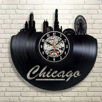 Hollow CD Record Clock Chicago City Vinyl Record Hanging LED Clock Antique Style Handemade CD Record Modern Art Home Decoration