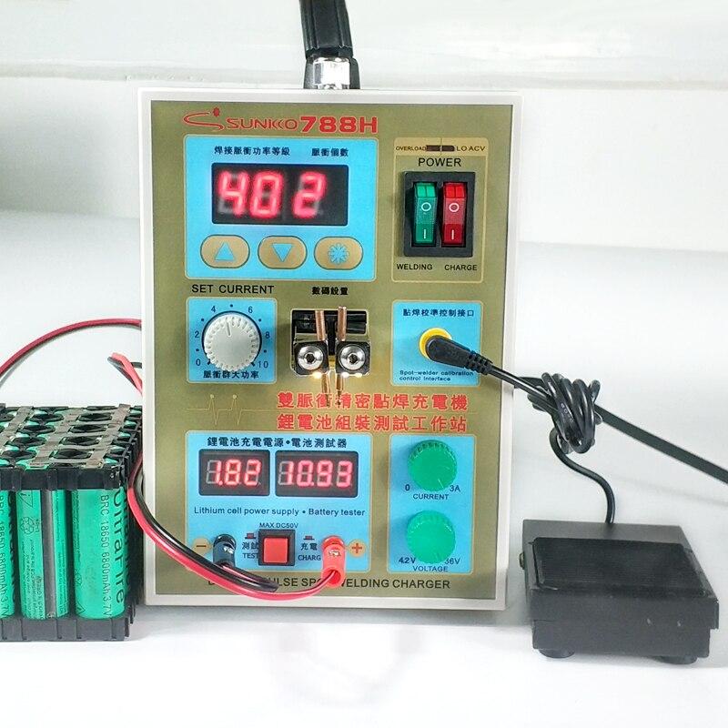 SUNKKO 788 H spot soudeur batterie machine de soudage batterie au lithium de charge double pulse 18650 nouvelle mise à jour LED éclairage soudeur