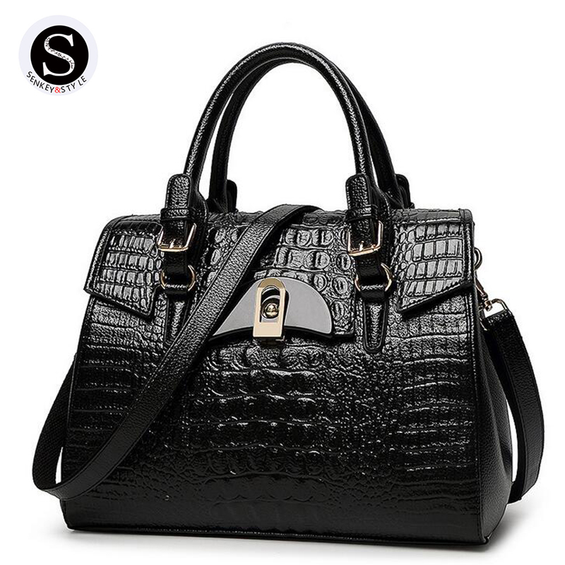 Senkey Style 2017 Alligator Big Women Messenger Bags Famous Brand Crossbody Bags