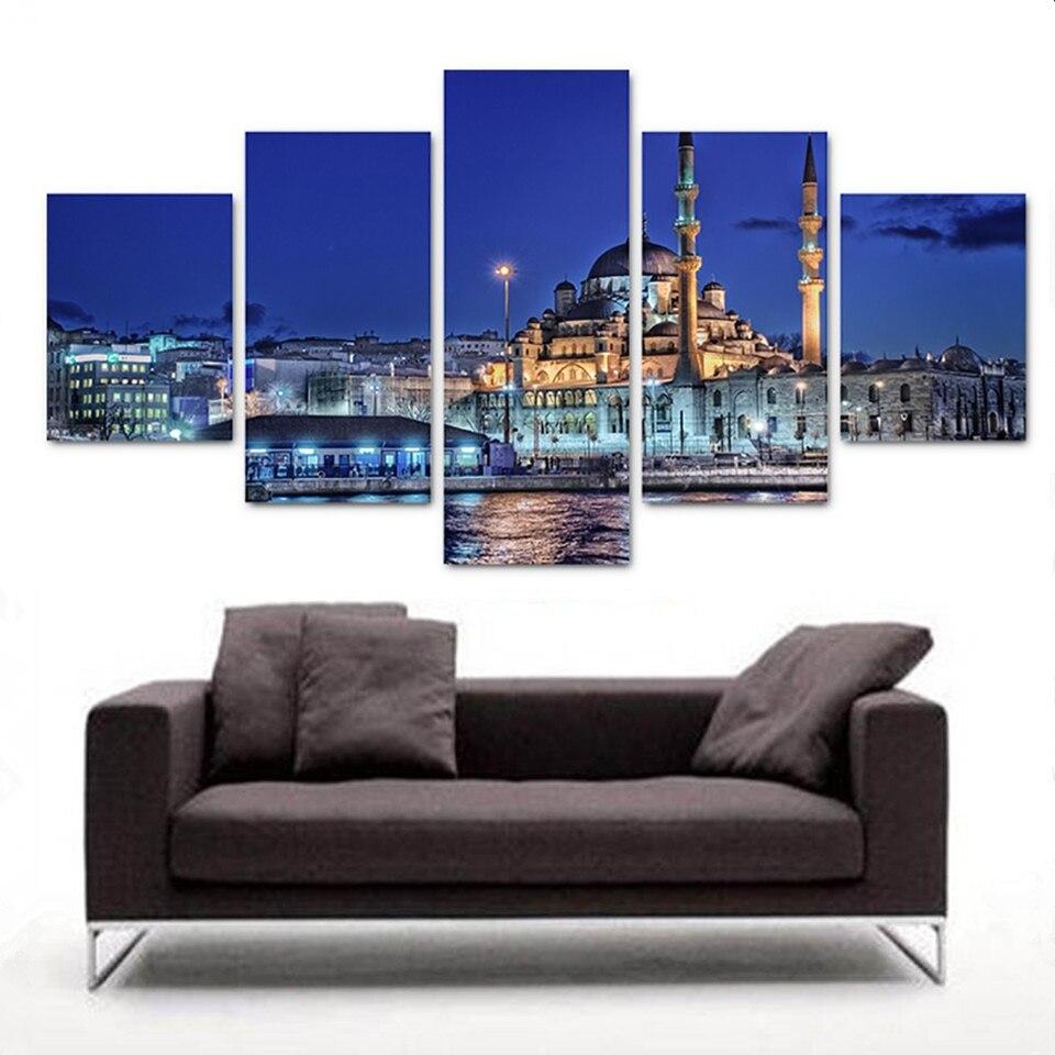 Modular Picture Hd Print On Canvas Modern Home Decor 5 Panel Turkish Mosque Night Landscape Canvas