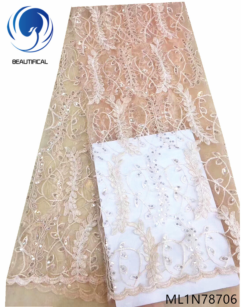 Beautifical net tulle lace fabrics high quality sequin lace african sequin lace fabric latest 5 yards embroidered fabric ML1N787Beautifical net tulle lace fabrics high quality sequin lace african sequin lace fabric latest 5 yards embroidered fabric ML1N787