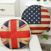 45cm Vintage Flag Pattern Cotton Linen Home Sofa Car Seat Decorative Round Cushion Cover Circular Pillow Case cute kitten cushion cover 45cm x 45cm cotton linen square home decorative sleeping cat throw pillow case sofa car office decor