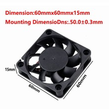 Gdstime 1 Piece 12V 60x60X15mm  Dual Ball Radiator 60mm x 15mm DC Brushless Cooling Fan 6015 6cm 2Pin Computer PC CPU Cooler