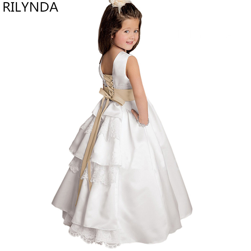 White Ivory   Flower     Girl     Dresses   Pageant   Dress   Sleeveless and Appliques Satin For Wedding Custom Made New Arrival Hot