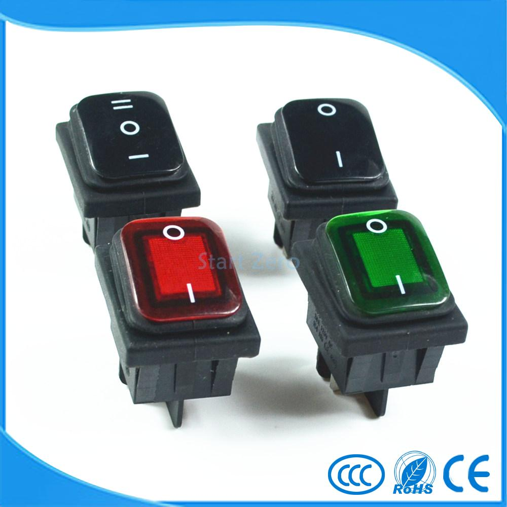 Waterproof Latching Rocker Toggle Switch,Red Green Black 4Pin 2Position, 6Pin 3Position AC250V/16A AC125V/20A 250vac 15a 125vac 20a 4 pin 2 position dpst on off snap in rocker switch kcd2 201n