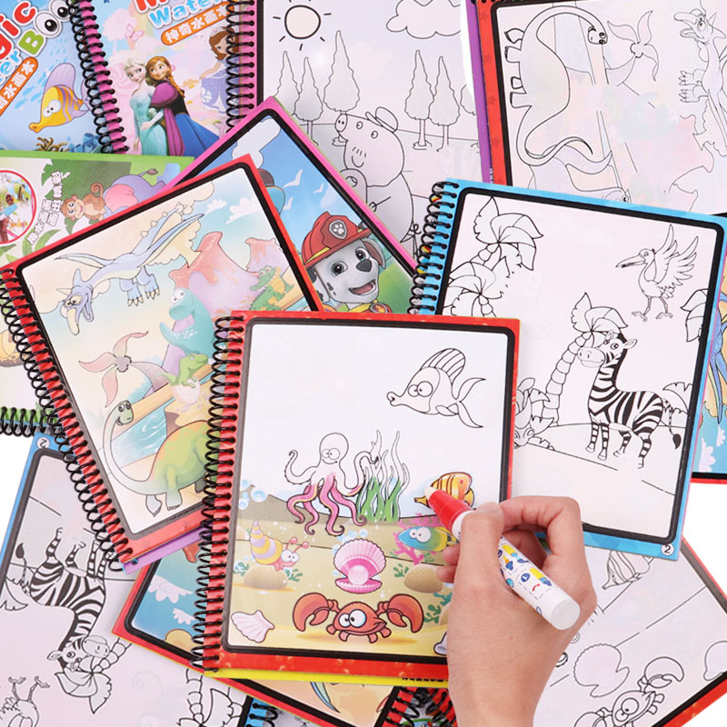 10 Models Magic Water Drawing Book Coloring Book Doodle With Magic Pen Paint Drawing Board Cardboard Paper Kids Toy For Children(China)