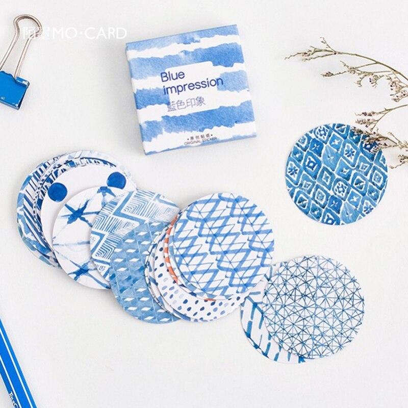 45 Pcs/lot Mini Blue Impression Paper Sticker Decoration DIY Ablum Diary Scrapbooking Label Sealing Sticker Kawaii Stationery