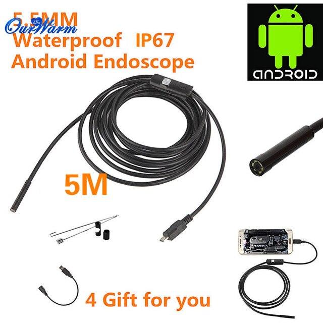 Android USB Эндоскоп 6 LED 5.5 мм Объектив Водонепроницаемая камера Инспекции Бороскоп Tube Камеры с 5 М Кабеля