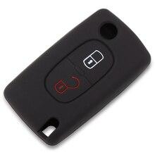 2 buttons Silicone Car Key Case For PEUGEOT 207 307 308 407 408 For Citroen C3 C4 C4L C5 C6 Quatre Protector Cover