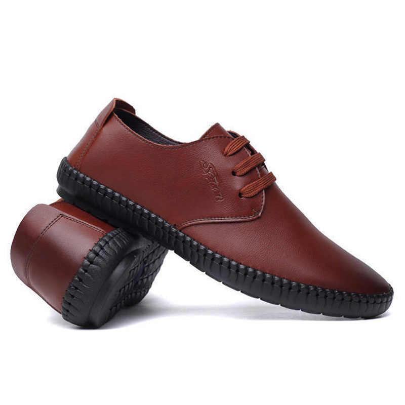 แฟชั่นธุรกิจรองเท้ารอบ Toe รองเท้าคลาสสิกรองเท้าหนังผู้ชายแฟชั่น Slip บนรองเท้าผู้ชายพลัสขนาดผู้ชาย oxfords