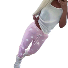 2017 Autumn Women's New Ties Letters Printed With Five-pointed Star Sweatpants Worn Outdoors Running Yoga Training Leggings