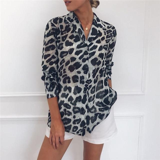 Aachoae Vintage Blouse à manches longues imprimé léopard Blouse col rabattu chemise de bureau tunique décontracté hauts amples grande taille Blusas