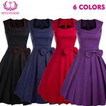 MYCOURSE Solid Red Purple Black Green Audrey Hepburn Style 50s 60s Dress Summer Sleeveless Dress Women Retro Rockabilly Dresses