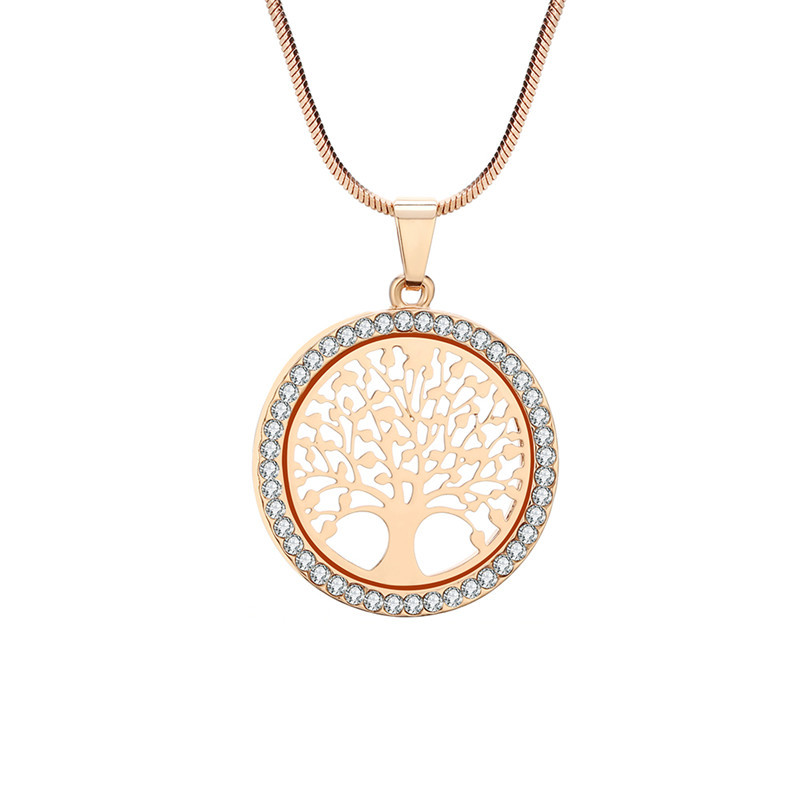 Hot Tree of Life Crystal Round Small Pendant Necklace Gold Silver Color Bijoux Collier Elegant Women Jewelry Gifts Dropshipping 6