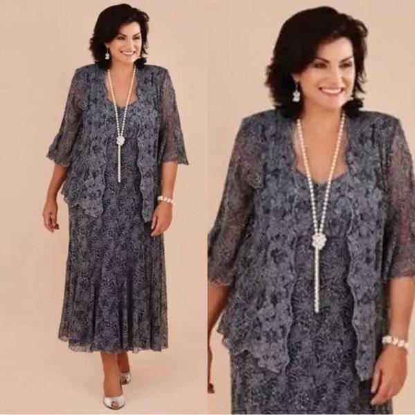 Plus Size Gray Lace Tea Length Mother of the Bride Dresses With Jacket Bride Mother Wedding Party Dress Formal vestido de renda BA1813