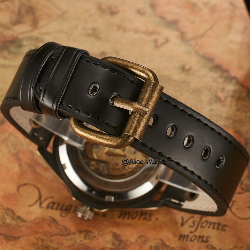 Retro Relojes Mecánicos Hombres Antiguo Bronce Esqueleto Steampunk - Relojes para hombres - foto 5