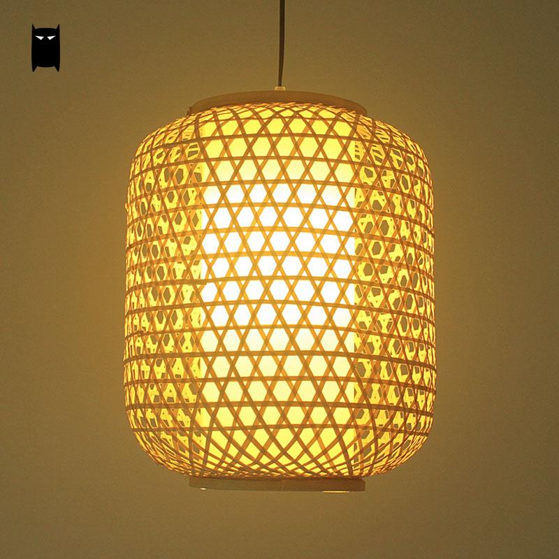 Bamboo Wicker Rattan Lantern Shade Pendant Ligth Fixture Rustic Asian Art Deco Hanging Lamp Avize Restaurant Tea Dining Room japanese bamboo wicker rattan pendant light fixture vintage wave shade hanging lamp home indoor dining room suspension luminaire