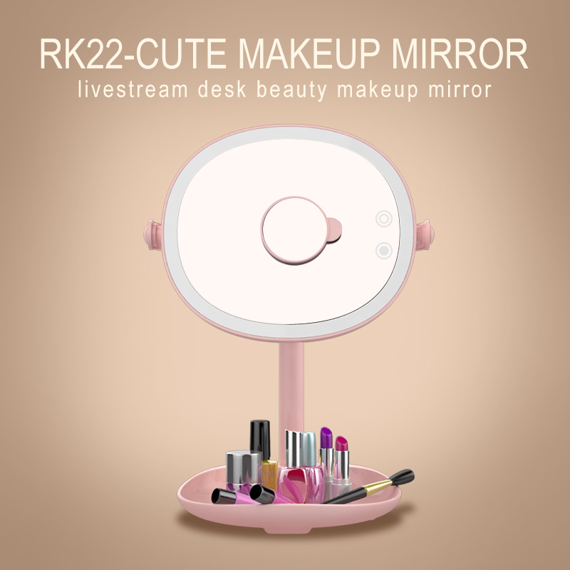 RK22 Selfie Flash Light Fill Light Beauty Makeup Mirror Touch Button 5 modes lighting Lamp 180 Rotary With Magnifying Mirror