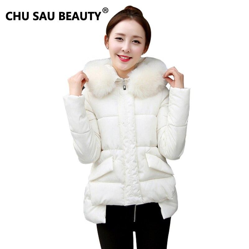 new chaqueta de algodón de invierno abrigo para mujer grueso cuello de piel abri