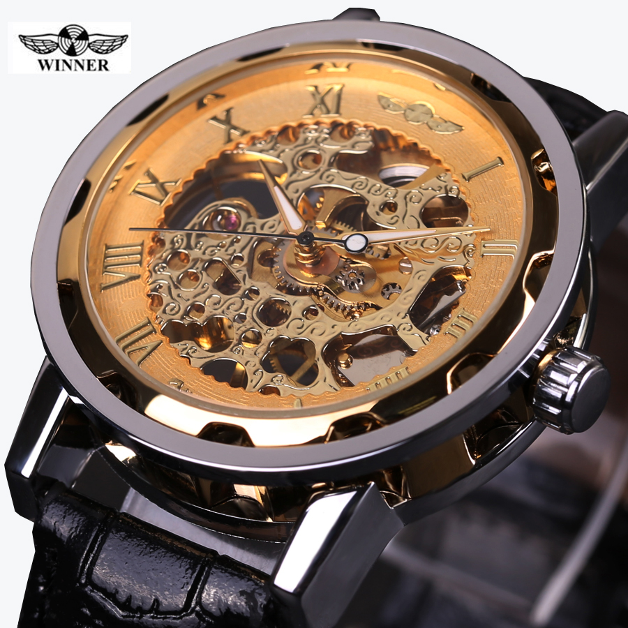 2016 WINNER brand fashion men mechanical hand-wind skeleton dial genuine leather strap wrist watch classic style male gift clock winner arrival glass men skeleton watches elegant simple pierced charm mechanical hand wind business and fashion style