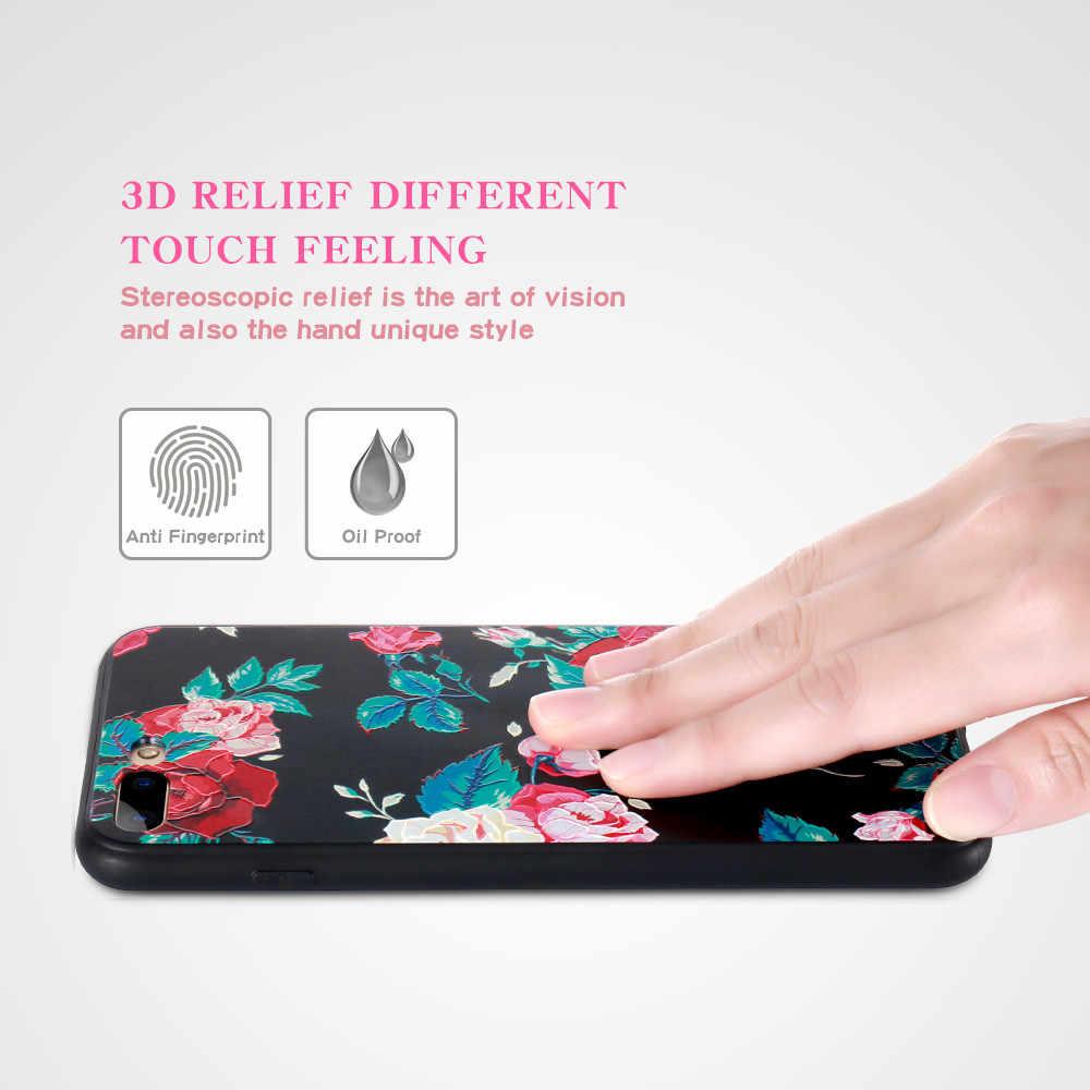 KISSCASE حقيبة لهاتف أي فون 7 8 زائد X 5s حالة 3D الإغاثة تنقش الورود لينة السيليكون غطاء ل فون 6 6S زائد جراب هاتف Capinhas