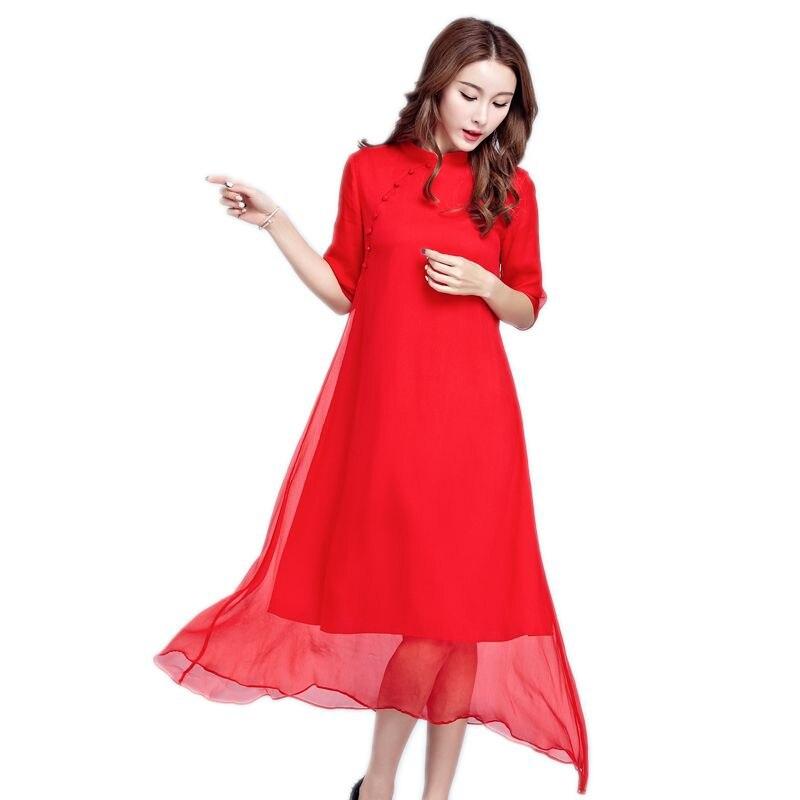 US $18.72 52% OFF|Fashion Women Spring Summer Silk Dress Plus Size Dresses  Loose Casual Dress red black vintage Long dress vestidos clothing-in ...
