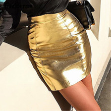 Sexy Pencil Solid Goldren Summer Women PU Leather Pencil Skirts High Waist Mini Short Skirt High Waist Bodycon Mini Skirt Female