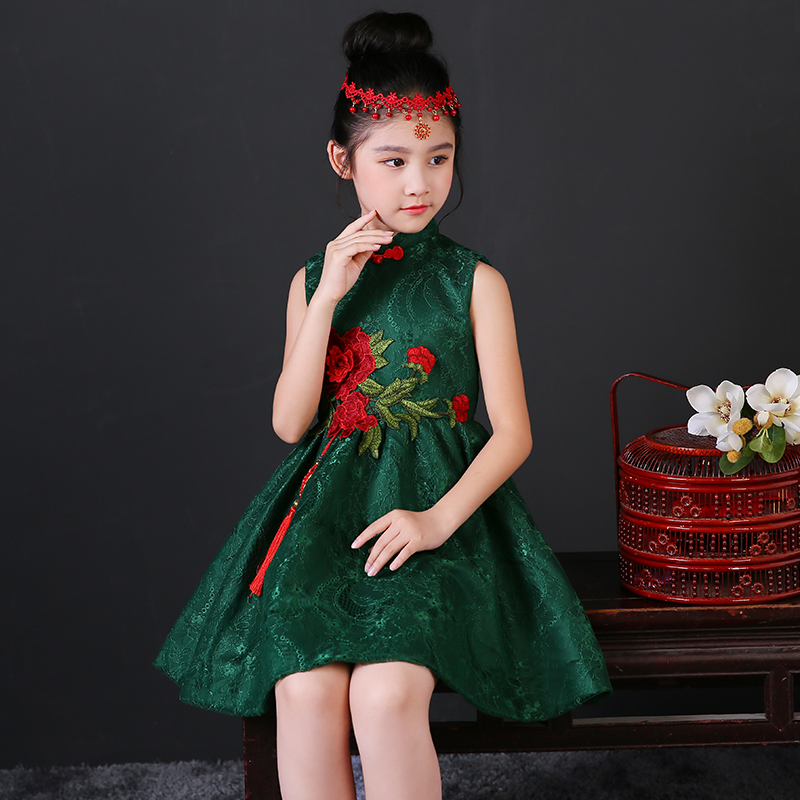 2017 autumn girls dresses chinese style girls lace cheongsam floral kids dresses for girls qipao clothes sleeveless kids clothes