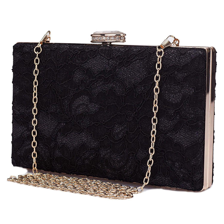 AFBC Elegant Floral Lace Evening Clutch Bridal Wedding Handbag Purse Chain Prom Bridal Wallet for Women