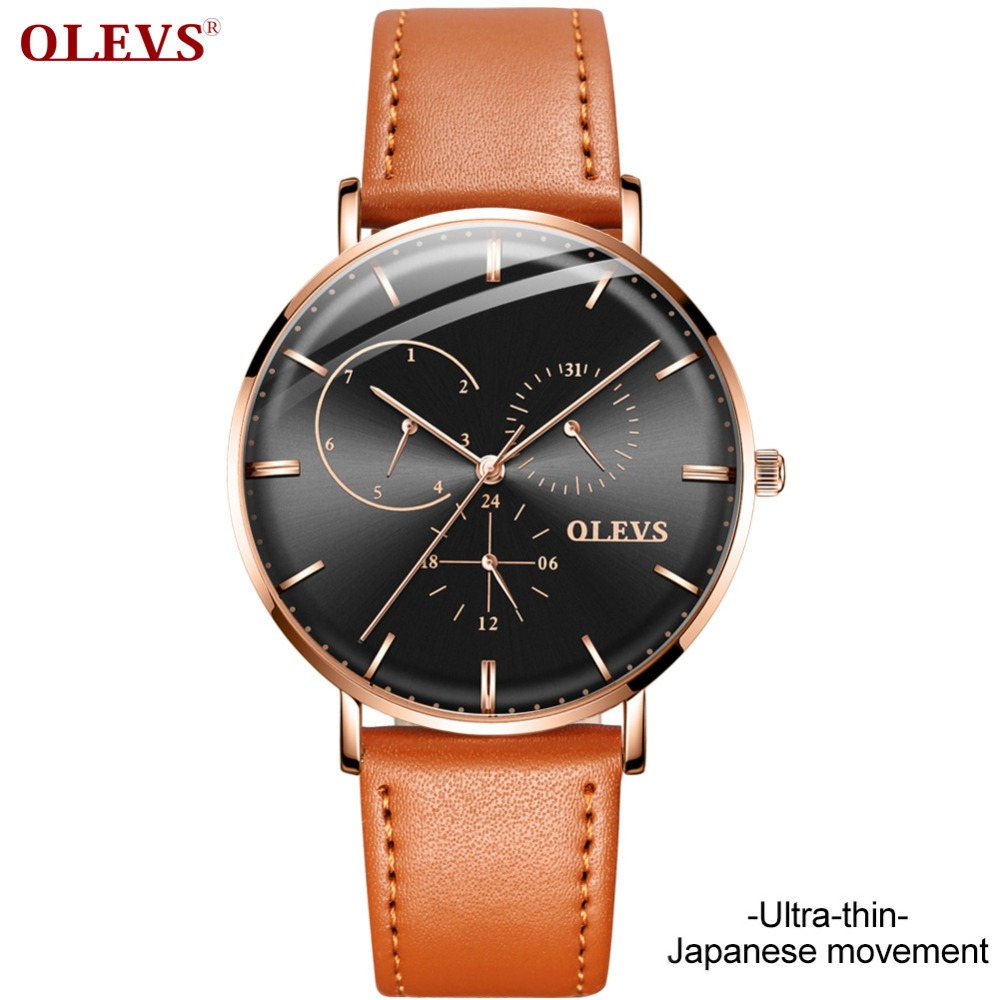 Fashion Leather Mens Quarts Watches Ray Men Wrist Watch 2018 Mens Watches Top Brand Luxury Casual Multifunction Watch Clock uhr fashion faux leather mens analog quarts watches blue ray men wrist watch 2018 mens watches top brand luxury casual watch clock